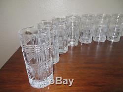 12 Set RALPH LAUREN Glen Plaid CRYSTAL GLASSES Double Old Fashioned Highball-NEW
