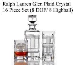 16 Set Ralph Lauren Glen Plaid Crystal Glasses DOF Double Old Fashioned Highball