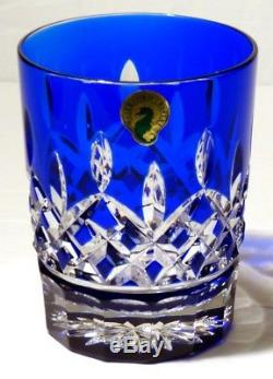 1 Waterford Crystal Lismore Cobalt Blue Double Old Fashioned Tumbler Glass