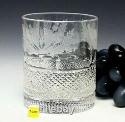 2X Edinburgh Crystal Thistle Double Old Fashioned Tumbler 1st Quality Back stamp