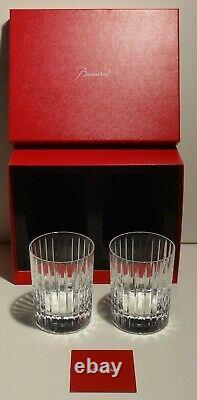 2 Baccarat Crystal Harmonie Double Old Fashioned Glasses 4 1/8 Double Signed
