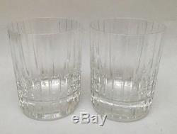 2 Baccarat Crystal Harmonie Double Old Fashioned Tumbler Glasses 4 1/8