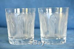 2 LALIQUE France Crystal Antique Femmes 4 Tumbler Double Old Fashioned Glass