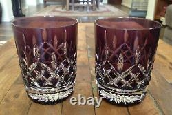 2 Lot Waterford Crystal Lismore Amethyst Double Old Fashioned Glasses New in Box