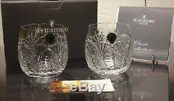 2 New Waterford Crystal Seahorse Double Old Fashioned Glasses Made In Ireland