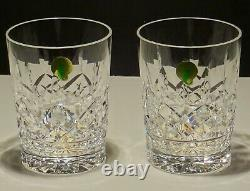 2 New Waterford Lismore Double Old Fashioned Glasses 4 3/8 Ireland