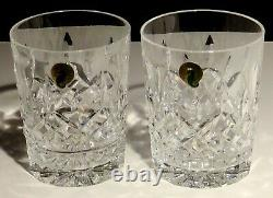 2 New Waterford Lismore Double Old Fashioned Glasses 4 3/8 Made In Ireland