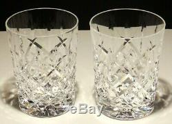 2 Rare Vintage Waterford Araglin Double Old Fashioned Glasses 4 3/8