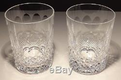 2 Vintage Waterford Crystal Colleen Double Old Fashioned Tumbler Glasses 4 3/8