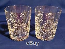 (2) WATERFORD Congratulations Crystal Double Old Fashioned Glasses MINT