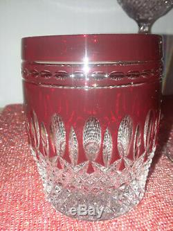 2 Waterford Crystal Claredon Ruby Pattern Double Old Fashioned Whiskey Glasses