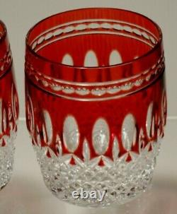 2 Waterford Crystal Clarendon Double Old Fashioned Glasses Ruby Red 4 1/8