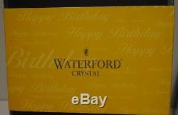 2 Waterford Crystal Happy Birthday Double Old Fashioned Tumbler Glasses 4 3/8