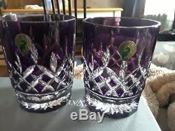 2 Waterford Crystal Lismore Amethyst Double Old Fashioned Tumbler Glass In Box