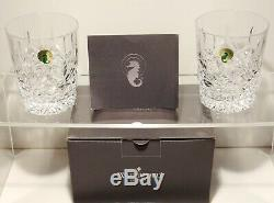 2 Waterford Crystal Lismore Double Old Fashioned Tumbler Glasses 4 3/8 Ireland