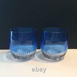 2 Waterford Crystal Mixology Aragon Blue Double Old Fashioned Glasses Cr1822
