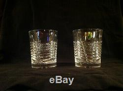 2 Waterford Crystal SPIRIT OF AMERICA USA FLAG DOUBLE OLD FASHIONED GLASSES