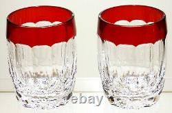 2 Waterford Crystal Simply Red Double Old Fashioned Glasses 4 1/4