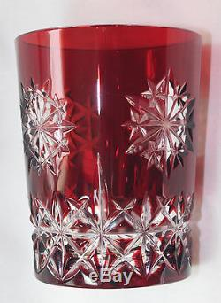2 Waterford Red SNOW CRYSTALS DOF (Double Old Fashioned), signed BOXED