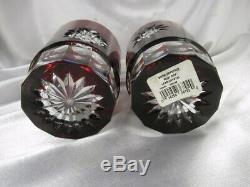 2 Waterford Ruby Red & Clear Snow Crystals Double Old Fashioned Glasses Mib
