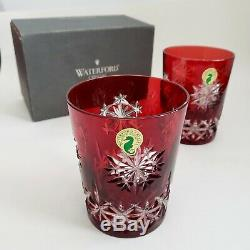 2 Waterford Snow Crystals Ruby Red Double Old Fashioned DOF Glasses Box Labels