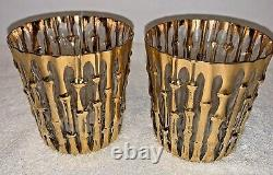 (2) vintage mid century Imperial Glass Bambu Gold Double Old Fashioned Glasses