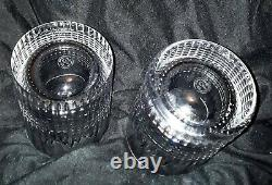 3 Baccarat Crystal Nancy Double Old Fashioned Tumbler Glasses Signed 4 1/8