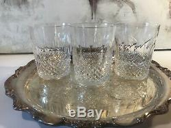 3 Vintage WATERFORD CRYSTAL COLLEEN DOUBLE OLD FASHIONED TUMBLER GLASSES 4 3/8