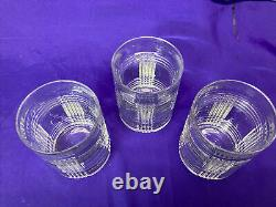 3 Vntg Ralph Lauren Crystal Glen Plaid Double Old Fashioned Whiskey Glasses MINT