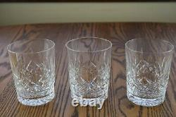 3 Waterford Crystal Lismore 4 3/8 Double Old Fashioned Whiskey Tumbler Glasses