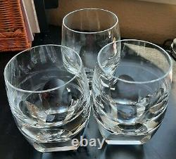 3 vtg Moser BAR double old fashioned clear high ball art glass Glasses