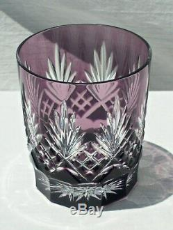 4 AJKA Caroline Cut to Clear Crystal Double Rocks Old Fashioned Glasses Multi