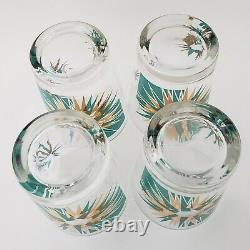 4 Gay Fad Atomic Starburst Glass Tumblers Double Old Fashioned Gold Aqua Green