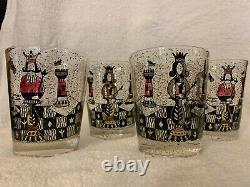 4 Georges Briard Mid Century Chess Piece Rocks / Double Old Fashioned Glasses