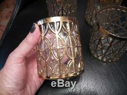 (4) IMPERIAL GLASS El Tabique de Oro GOLD Double Old Fashioned Whiskey Tumbler