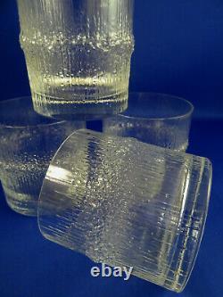 4 Iittala Niva Double Old Fashioned Crystal Glasses Tapio Wirkkala Finland