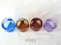 4 Moser Crystal Ice Double Old Fashioned Bar Glasses Aqua Topaz Rosalin Alexand