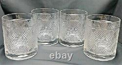 4 Ralph Lauren Argyle Plaid Crystal Double Old Fashioned Glasses