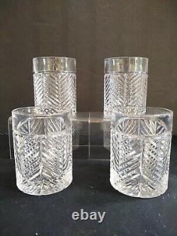 4 Ralph Lauren Crystal Double Old Fashioned Herringbone Bourbon Glasses Whiskey