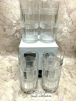 (4) Ralph Lauren GLEN PLAID Double Old Fashioned Glasses 13.5 oz. NEW IN BOX