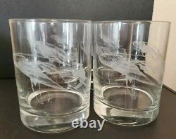 4 Robert Wyland Humpback Whale & Calf 12 oz Double Old Fashioned Whiskey Glasses