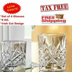 4 Vintage Crystal Whiskey Glasses Set Classic Double Old Fashioned Scotch Glass