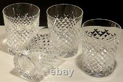 4 Vintage Waterford Alana Double Old Fashioned Tumbler Glasses 4 3/8 Ireland
