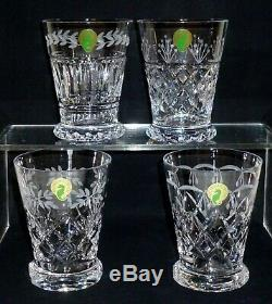 4 Waterford Crystal HERITAGE Set GRAY CUT Double Old Fashioned Tumblers glasses