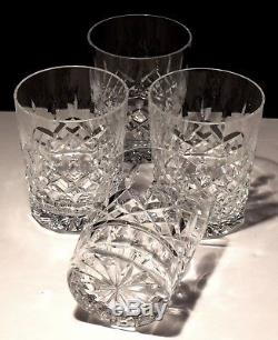 4 Waterford Crystal Lismore Double Old Fashioned Glasses 4 3/8 Made In Ireland