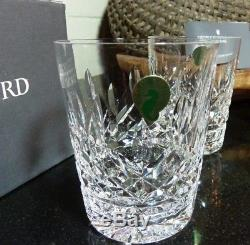 4 Waterford Lismore 4 3/8 Double Old Fashioned Tumblers Ireland withTags and Box