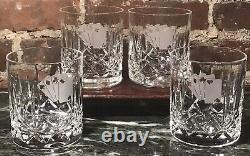 4 Waterford Lismore Double Old Fashioned Glasses Poker Cards Etched Ireland