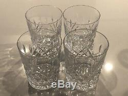 4 Waterford Lismore Ireland Double Old Fashioned Tumblers Glasses Signed