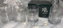 4 pc Ralph Lauren Glen Plaid 11.8 Oz. Double Old Fashioned Glasses New in Box