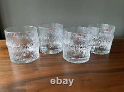 4pc Iittala Niva Double Old Fashioned Finlandia Vodka Rocks Glasses